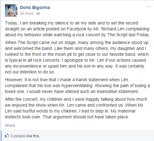doris bigornia statement