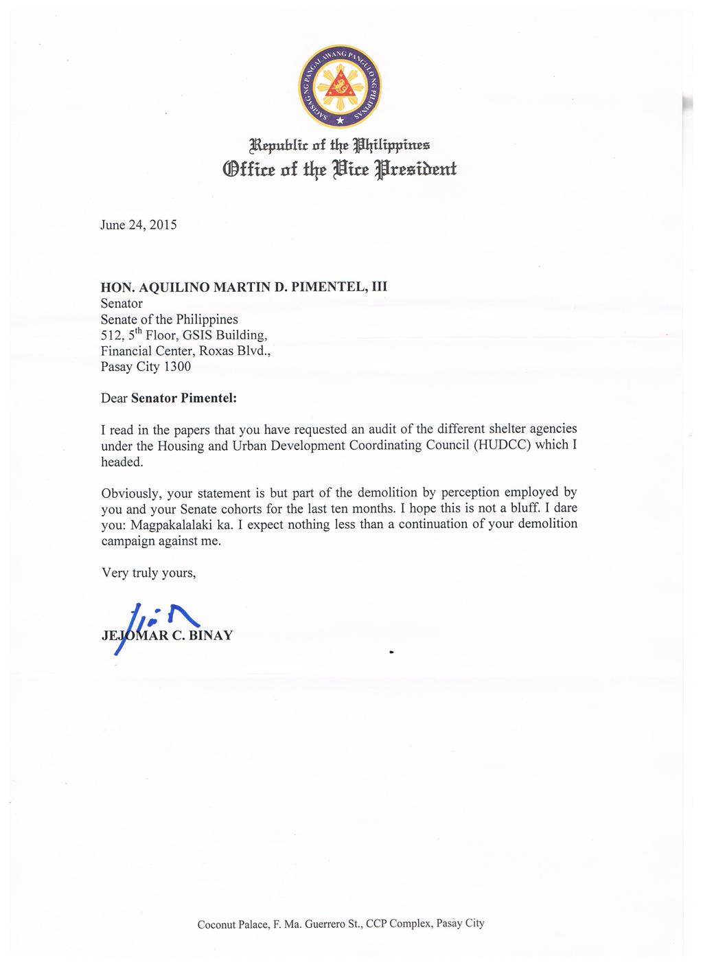 Look vp binays letter to sen koko pimentel taunting binay letter to pimentel ccuart Gallery