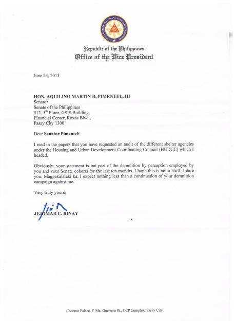 Binay letter to Pimentel