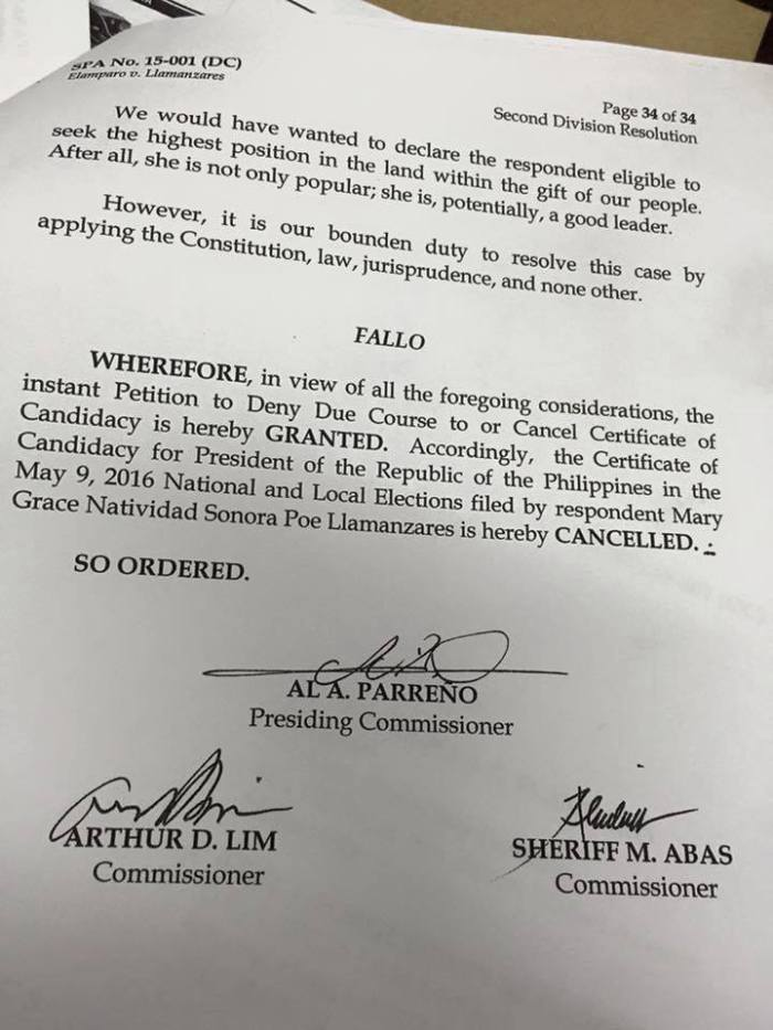 gracepoe disqualified