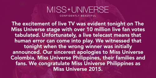 miss universe apology